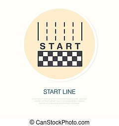 Starten Sie das lineare Icon der Zeile. Auto fahren, Auto fahren. Wettbewerbsverzerrung