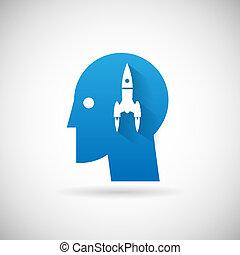 Starten Sie die Symbol-Raketen-Icon-Design Vorlage Vektorgrafik.