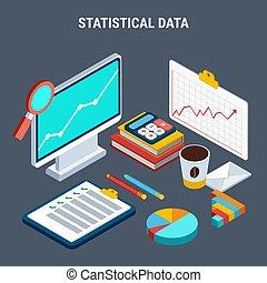 Statistische Daten isometrisches Designkonzept.