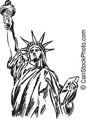 statue, freiheit, abbildung