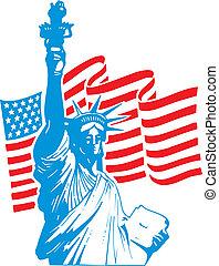 statue, freiheit, usa markierung