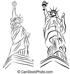 statue, freiheit, zeichnungen