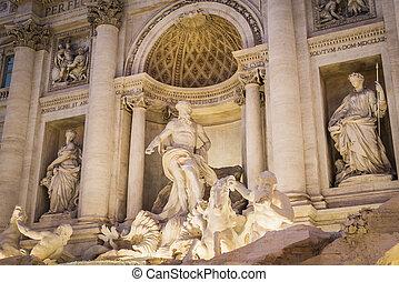 Statuen des Trevi Springbrunnens in Rom.
