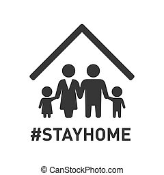 stayhome, icon., vektor, familie, roof., zeichen, schutz, unter, coronavirus, hashtag