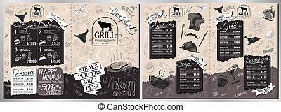 steakhouse, -a3, größe, karte, menükarte, a4, grill