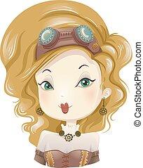 Steampunk-Mädchenkostüm.