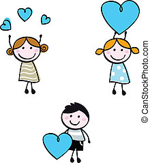 Stecken Sie Doodle Kinderfiguren mit Herzbannern