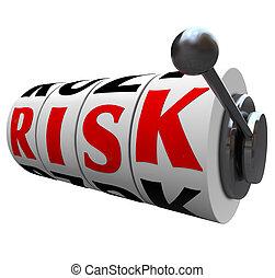steckplatz, wort, risiko, chancen, -, maschine, chance, gluecksspiel, räder