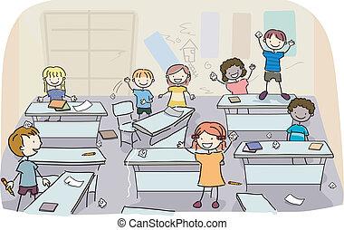 Steckt Kinder in eine schmutzige Klasse
