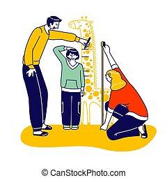 stehen, activity., leute, höhe, abbildung, charaktere, vater, messen, sohn, linear, meter, eltern, familie, mutti, kind, glücklich, mark., besitz, stellen, giraffe, vektor, messen, wand, mutter, scale., vati