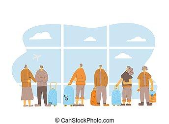 stehen, länge, vektor, wohnung, voll, leute, design, reise