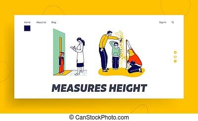 stehen, notizbuch, leute, höhe, abbildung, sohn, messen, zeichen, linear, skala, eltern, .doctor, seite, kleines mädchen, giraffe, meter., schreibende, vektor, messen, template., wand, landung, kind
