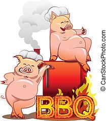 stehende , briefe, brennender, chefs, zwei, raucher, schweine, rotes , lächeln, hüte, bbq