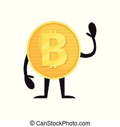 stehende , goldenes, finanz, wohnung, beweglich, geld, hand., zeichen, bitcoin, glänzend, oder, winkende , vektor, design, icon., cryptocurrency, app, muenze, humanized, concept., aufkleber