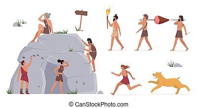 stehende , weg, gemälde, höhle, ursprünglich, rennender , stamm, tiger, höhlenmensch, satz, leute