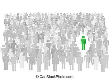 steht, menschenmasse, symbol, groß, person, individuum, heraus