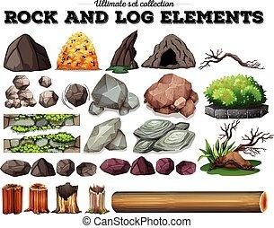 Stein- und Holzelemente.