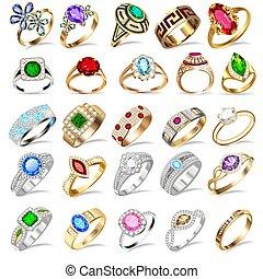 steine, kostbar, hintergrund, ring, satz, abbildung, weißes