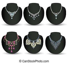 steine, kostbar, perlen, frau, hintergrund, freigestellt, halsschmuck, wedding, satz, abbildung, weißes