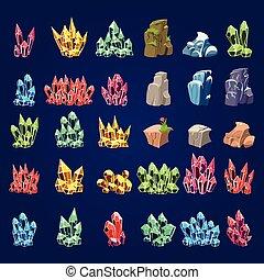 steine, satz, karikatur, mineral