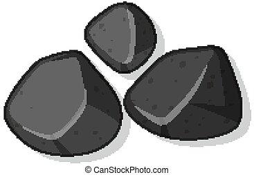 steine, weißes, satz, freigestellt, schwarzer hintergrund
