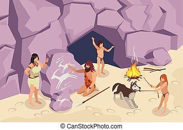Steinzeit-Leute im Hintergrund.