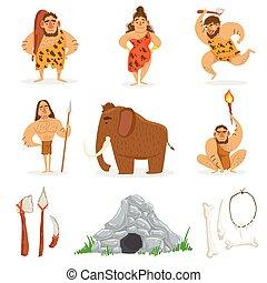 Steinzeit-Stamm-Leute und verwandte Objekte