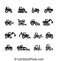 Stellt Ikonen von landwirtschaftlichen Maschinen.