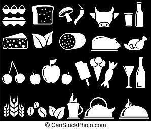 Stellt Lebensmittelobjekte auf schwarzen Hintergrund.