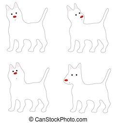 stellvertretend, reizend, weißer hund, karikatur