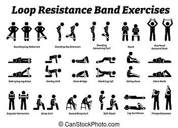 step., workout, widerstand, mini, techniken, strecken, schleife, übungen, treten, band