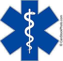 stern, notfall, freigestellt, symbol, medizinprodukt, weißes, leben
