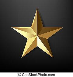 stern, schwarz, goldener hintergrund, freigestellt