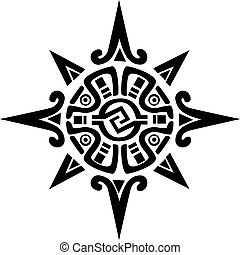 stern, sonne, symbol, maya, incan, oder