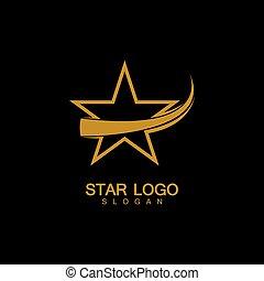 stern, stil, vektor, gold, hintergrund, schwarz, logo, elegant