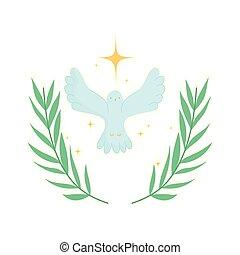 stern, taube, rgeöffnete, flügeln, emblem, gold
