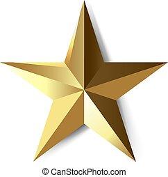 stern, weißes, goldener hintergrund, freigestellt