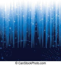 Sterne und Schneeflocken auf blauem gestreiften Hintergrund. Festes Muster toll für Winter oder Weihnachtsthemen.