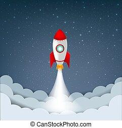 sternen, rakete, himmelsgewölbe, karikatur, wolke