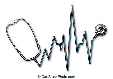 Stethoskop EKG Gesundheitssymbol.