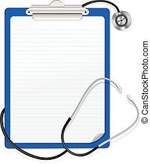 stethoskop, klemmbrett