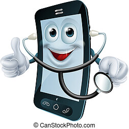 stethoskop, telefon, zeichen, karikatur, besitz