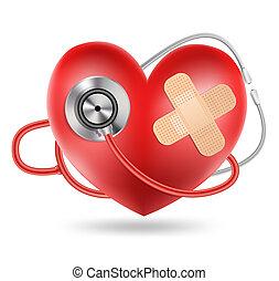 Stethoskop und eine Herzform