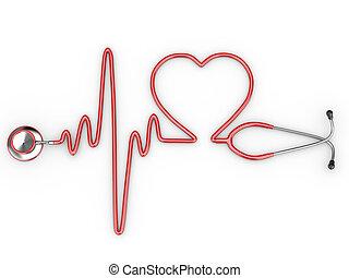 Stethoskop und eine Silhouette des Herzens und des EKG
