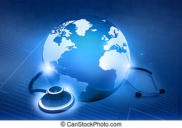 Stethoskop und Welt. Globales Gesundheitskonzept