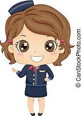 stewardeß, kostüm, abbildung, kind, m�dchen
