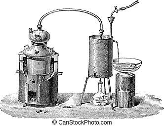 stich, weinlese, apparat, destillation, noch, oder