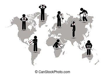Stick man hold screen :show skeleton,world map ( Worldwide Healthcare concept )( Pulmonary Tuberculosis , Arthritis , Cervical spondylosis , Lumbar spondylolisthesis , Scoliosis , Stroke ).