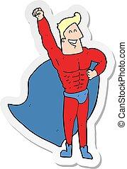 Sticker eines Comic-Superhelden.