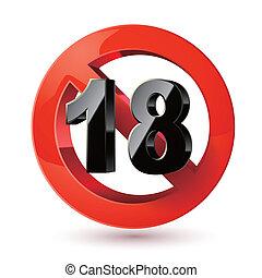 sticker., erwachsene, zeichen., xxx, verbotsschild, zufriedene , nur, achtzehn, grenze, unter, icon., alter
